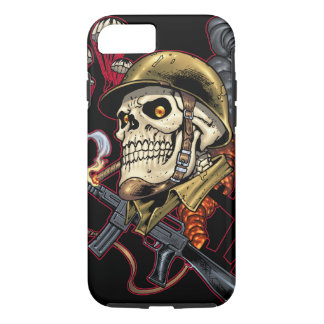 Skull with Helmet, Airplanes and Bombs iPhone 7 Case