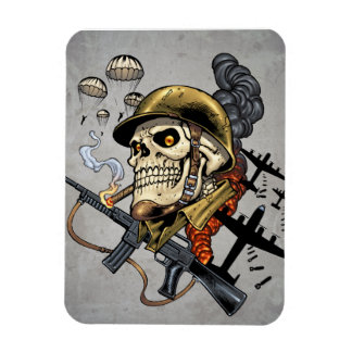Skull with Helmet, Airplanes and Bombs Magnet