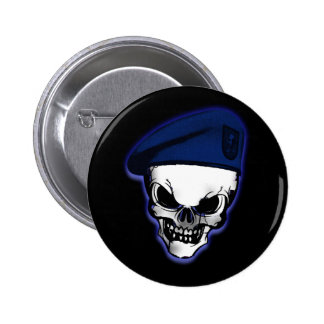 Skull with Military Beret 6 Cm Round Badge