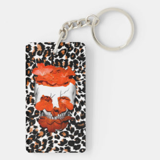Skull With Orange Flowers on Leopard Print Double-Sided Rectangular Acrylic Key Ring