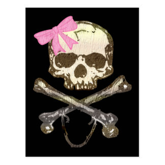 Skull wIth Pink Bow Post Card