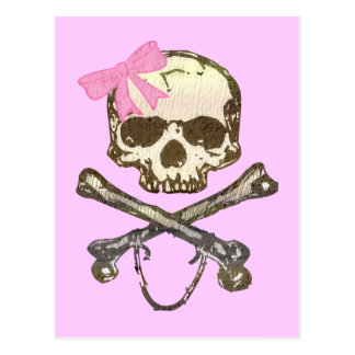 Skull wIth Pink Bow Postcards