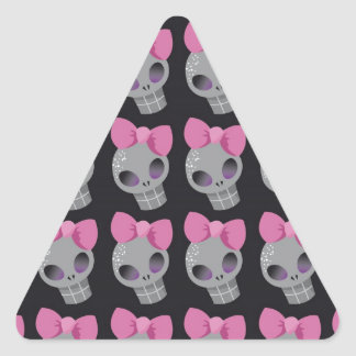 Skull with Pink Bow Print Triangle Sticker
