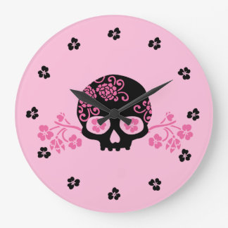 Skull With Pink Floral Pattern Wallclocks