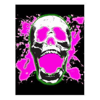 SKULL WITH PINK PAINT SPLATTER POST CARD
