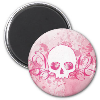 Skull with Pink Splatters and Swirls 6 Cm Round Magnet