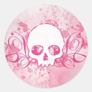 Skull with Pink Splatters and Swirls Classic Round Sticker