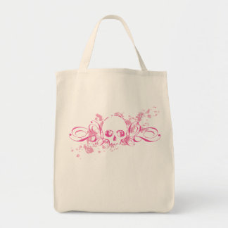 Skull with Pink Splatters and Swirls Grocery Tote Bag
