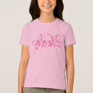 Skull with Pink Splatters and Swirls T-shirt