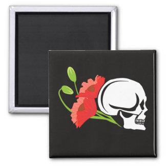Skull with poppies fridge magnet