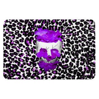 Skull With Purple Flowers On Leopard Spots Flexible Magnet