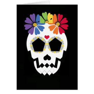 Skull With Rainbow Flowers Greeting Card