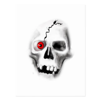 skull with red eye postcard