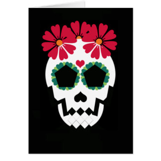 Skull With Red Flowers Greeting Card