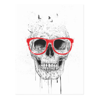 Skull with red glasses postcard