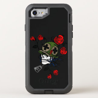 Skull with red roses and german army hat OtterBox defender iPhone 8/7 case