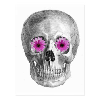SKULL WITH RETRO DAISY EYES POSTCARD
