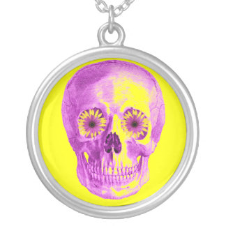 SKULL WITH RETRO DAISY EYES SILVER PLATED NECKLACE