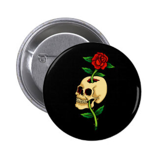 Skull with Rose 6 Cm Round Badge