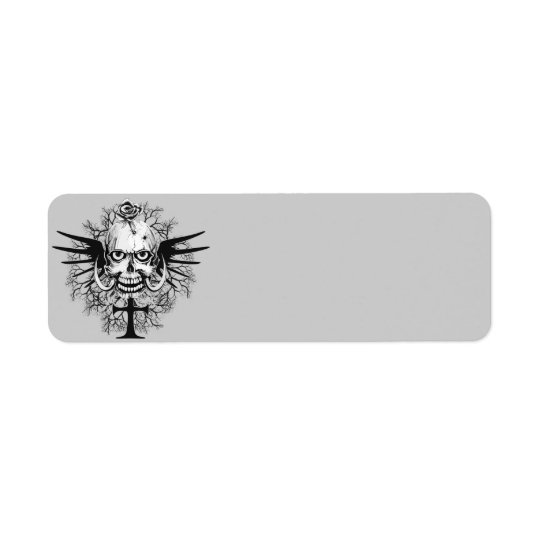 Skull With Rose, Horns, Cross, Wings Illustration