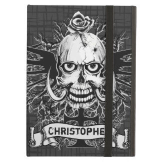 Skull With Rose, Horns, Cross, Wings Personalize iPad Air Cases