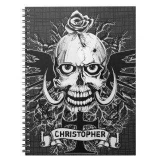 Skull With Rose, Horns, Cross, Wings Personalize Spiral Notebook
