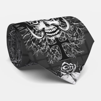 Skull With Rose, Horns, Cross, Wings Tie