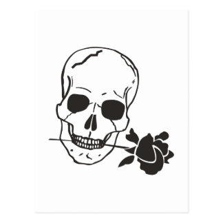 SKULL WITH ROSE POST CARDS