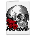 SKULL WITH ROSES VINTAGE PRINT CARD