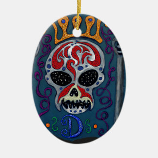 Skull with rown and Swords Ceramic Oval Decoration