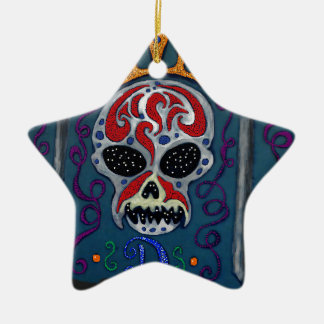 Skull with rown and Swords Ceramic Star Decoration