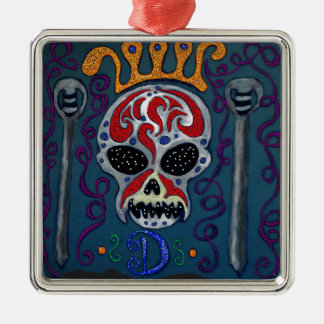 Skull with rown and Swords Silver-Colored Square Decoration