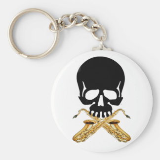 Skull with Saxophone as Crossbones Key Ring