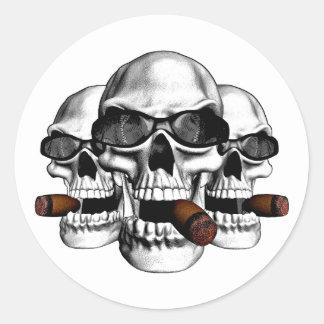 Skull with Shades Round Sticker
