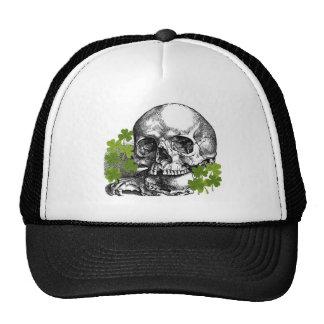 SKULL WITH SHAMROCKS VINTAGE PRINT CAP