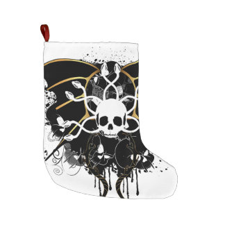Skull with snakes large christmas stocking