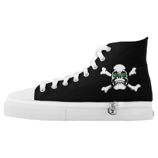 Skull With Sunglasses Canvas Hi Tops Printed Shoes