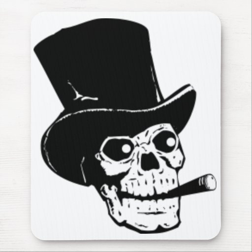 Skull with Top Hat and Cigar Mouse Pads