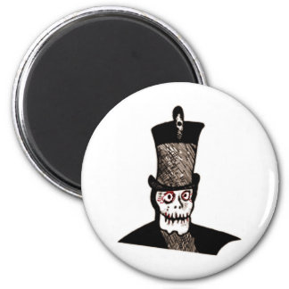 SKULL WITH TOP HAT VINTAGE PRINT 6 CM ROUND MAGNET