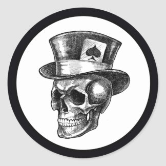 Skull with Tophat Classic Round Sticker