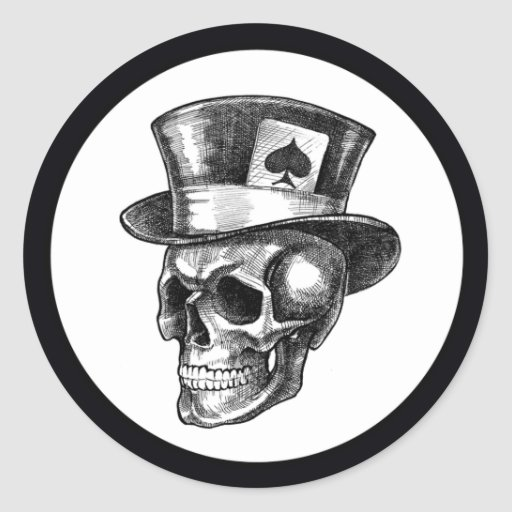 Skull with Tophat Sticker