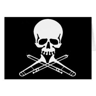 Skull with Trombones as Crossbones Card