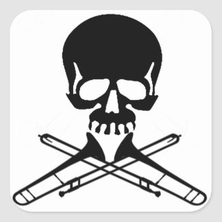 Skull with Trombones as Crossbones Square Sticker