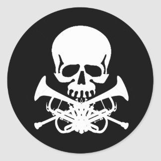 Skull with Trumpets as Crossbones Classic Round Sticker
