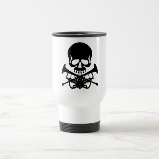 Skull with Trumpets as Crossbones Travel Mug