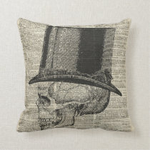 Skull with victorian hat stencil over old book pag cushion