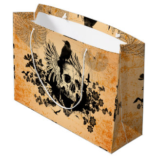 Skull with wings and crow with flowers large gift bag