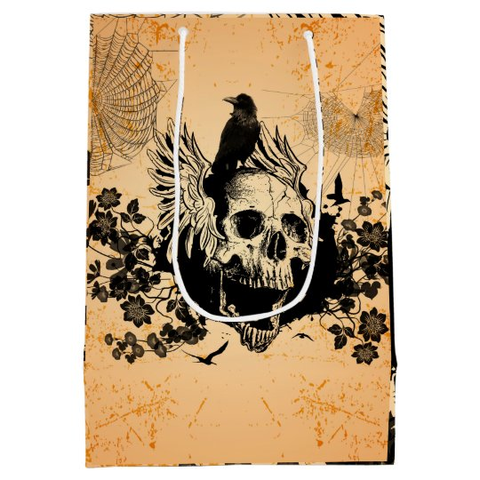 Skull with wings and crow with flowers medium