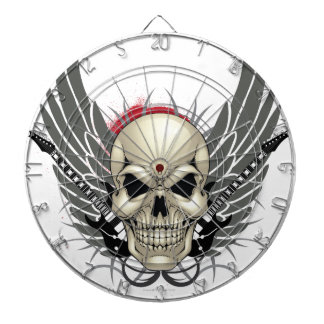 Skull with Wings and Guitars Dartboard