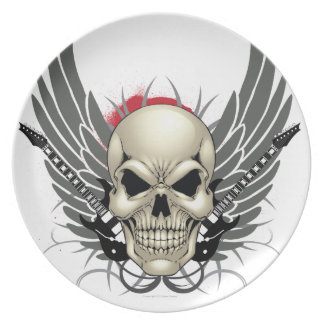 Skull with Wings and Guitars Party Plate